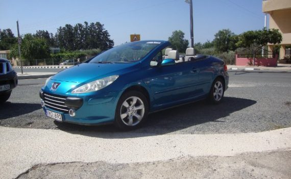 Car for sale in Paphos Cyprus : Blue Peugeot 307cc