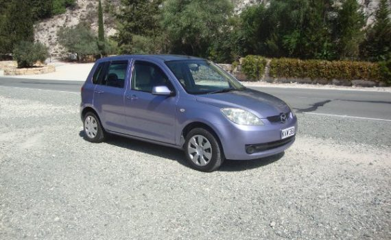 Car for sale in Paphos Cyprus : Blue Mazda Demio