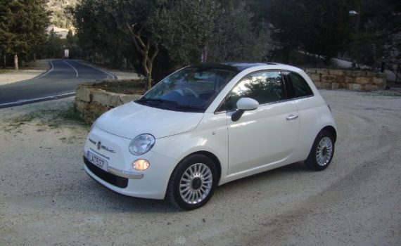 Car for sale in Paphos Cyprus : White Fiat 500 Twinair